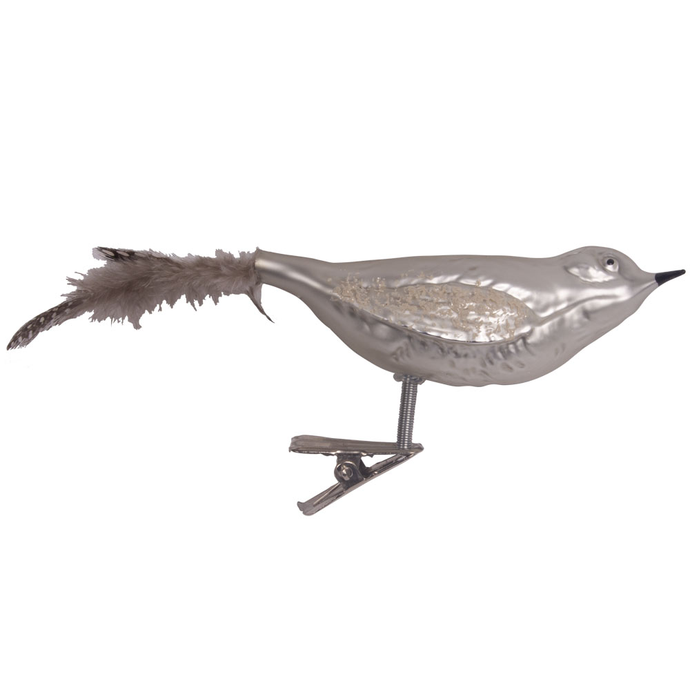 Glitter And Feather Delicate Pearl Grey Bird On A Clip - 9cm