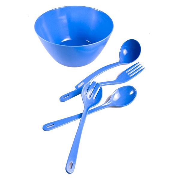 Pale Blue Salad Bowl With 4 Serving Utensils