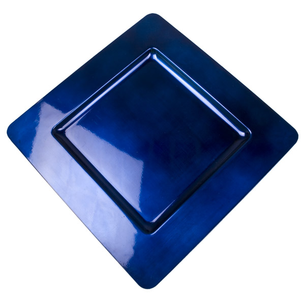 Standard Dark Blue Square Charger Plate - 33cm x 33cm  sc 1 st  Christmas Time UK : blue square plates - pezcame.com