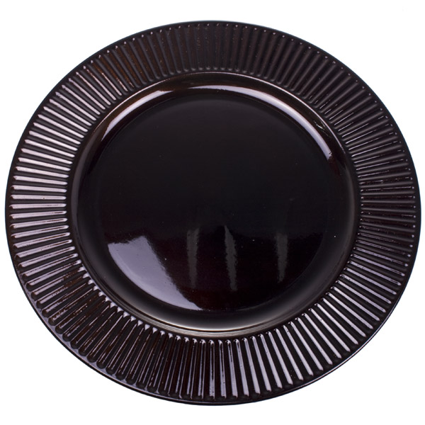 Embossed Bevelled Rim Dark Brown Round Charger Plate - 33cm Diameter