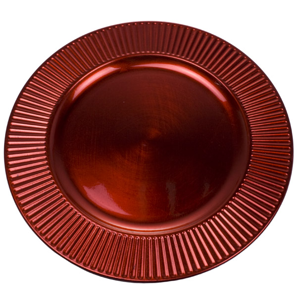 Embossed Bevelled Rim Christmas Red Round Charger Plate - 33cm Diameter