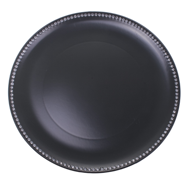 Diamante Edged Rimless Round Slate Grey Charger Plate - 33cm Diameter
