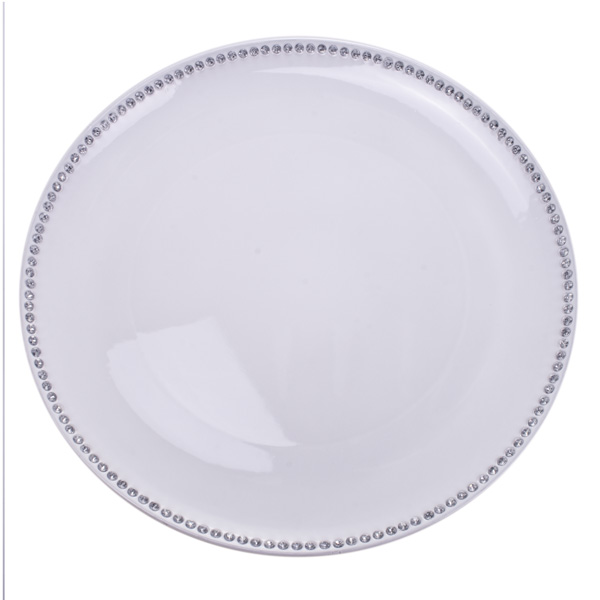 Diamante Edged Rimless Round White Charger Plate - 33cm Diameter