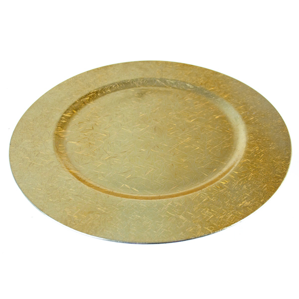 Luxury Round Gold Mirrored Ice Crystal Charger Plate - 33cm