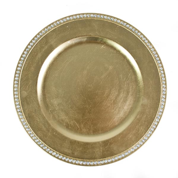 gold diamante edge charger plate 33cm - Christmas Charger Plates