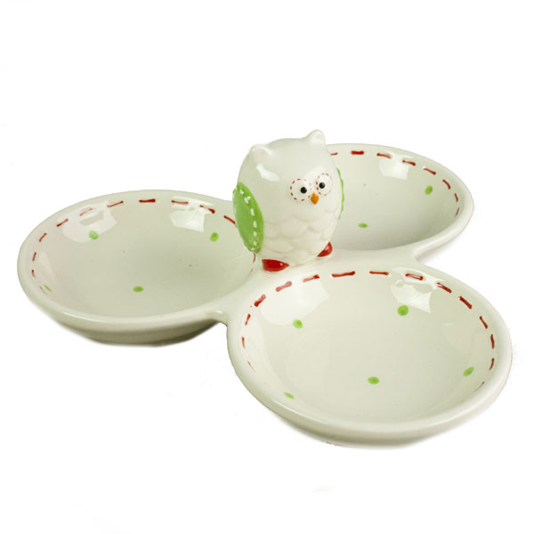 Green Owl Design Triple Dip Dish - 20cm