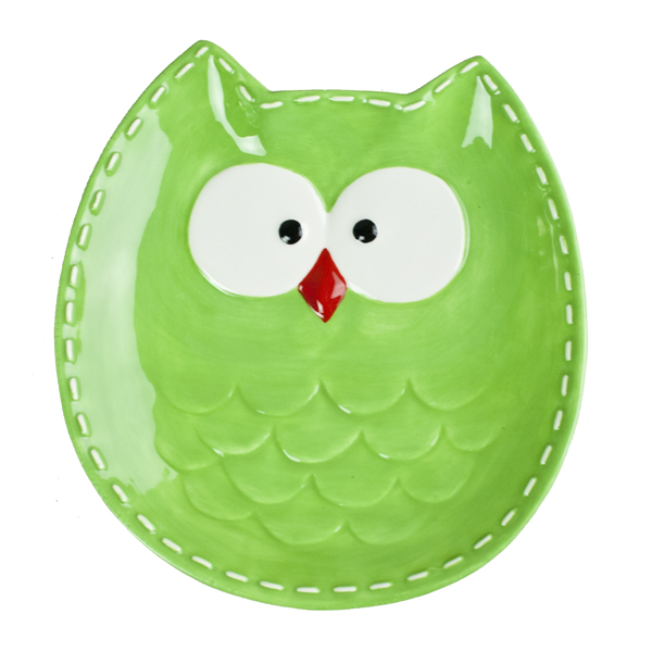 Green Owl Shaped Snack Plate - 18cm
