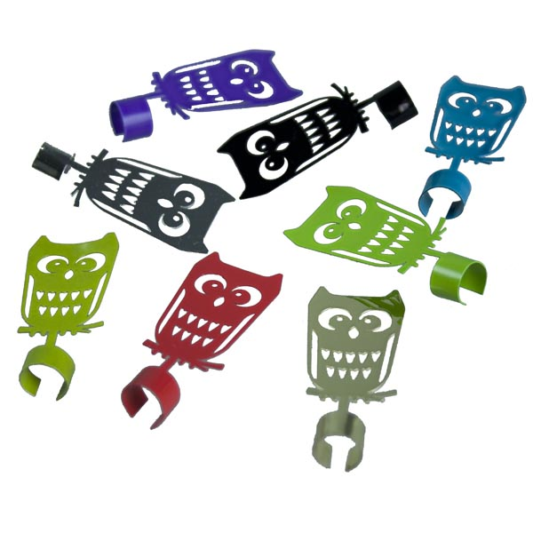 Pluto Pack Of Multicoloured Owls Glass Charms - 8 Pack