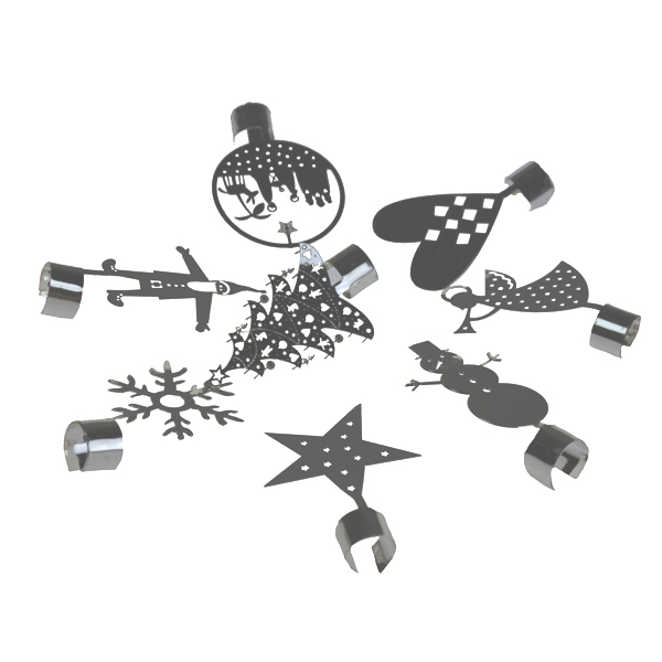 Pluto Pack Of Silver Christmas Glass Charms - 8 Pack