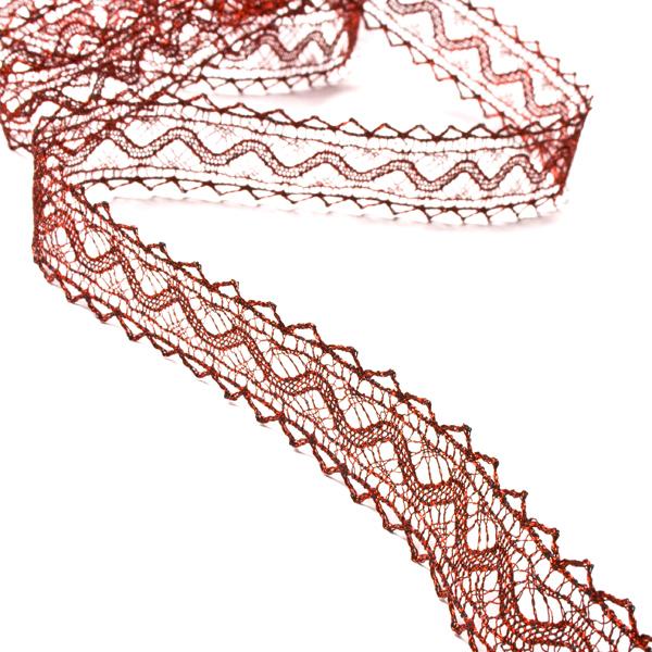 Burgundy Crochet Style Metallic Lace Ribbon - 10m Roll