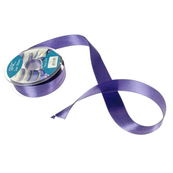Purple Wide Satin Ribbon - 20m x 25mm