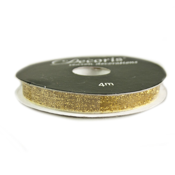 Gold Glittered Wired Edge Ribbon - 4m