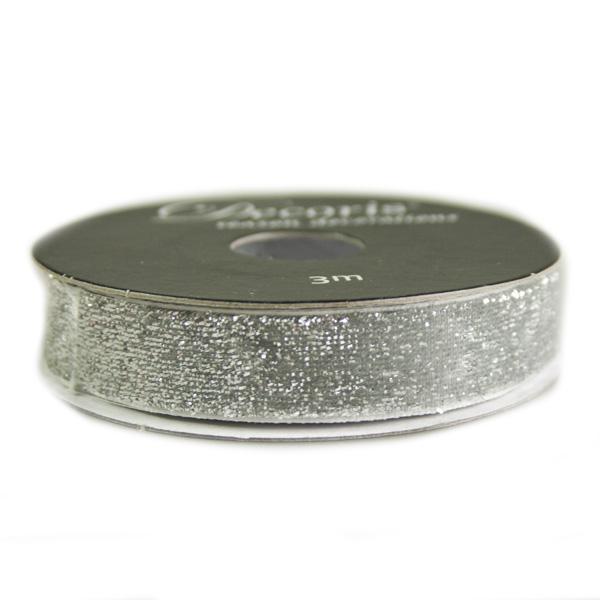 Silver Glittered Wired Edge Ribbon - 3m