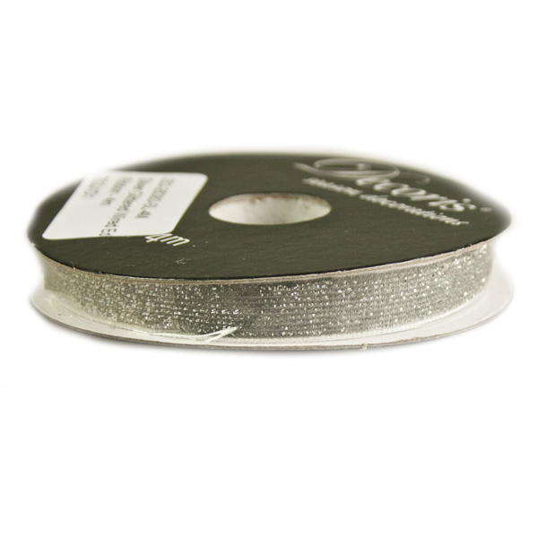 Silver Glittered Wired Edge Ribbon - 4m