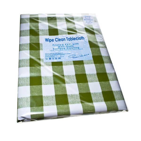 Peggy Wilkins Chequers Green Wipe Clean Tablecloth