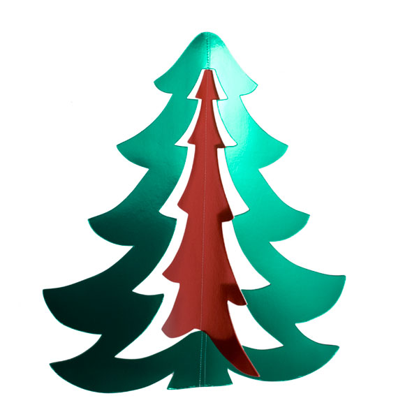 Green & Red 3D Display Tree - 65cm x 58cm