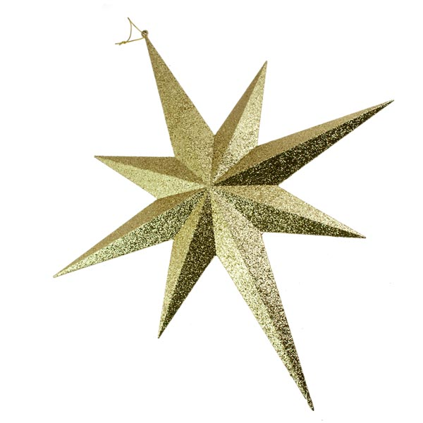 8 Point Gold Glitter Star - 40cm
