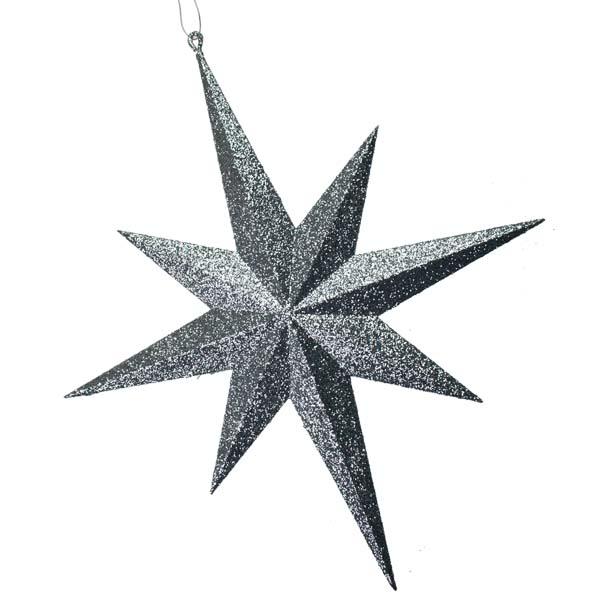 8 Point Silver Glitter Star - 40cm