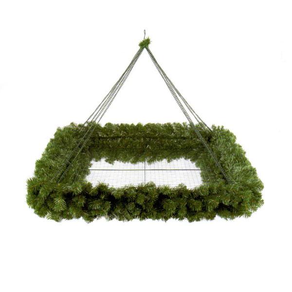 Square Flame Retardant Hanging Display Wreath - 1.2m