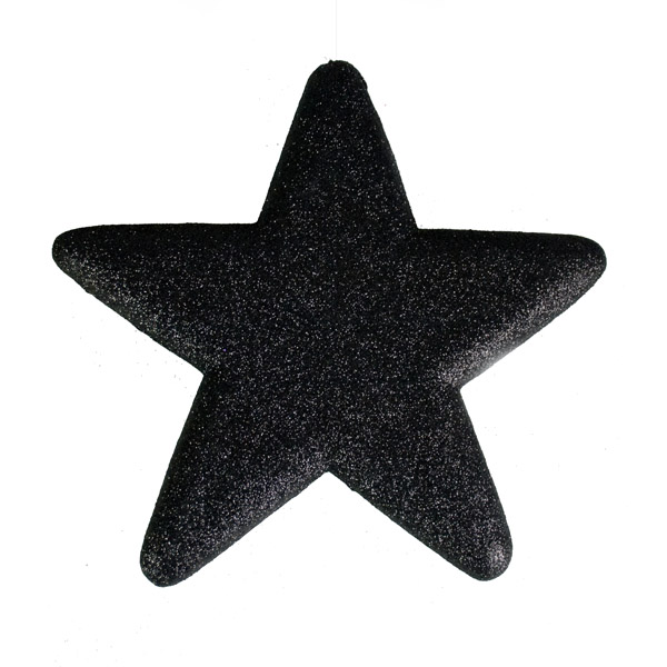 25cm Glitter Display Star Hanger - Black