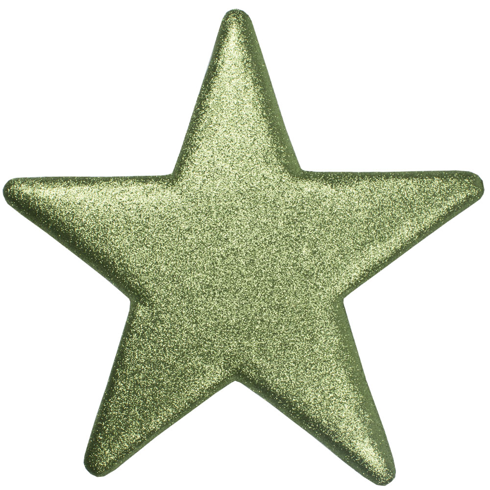 40cm Glitter Display Star Hanger - Cedar Green