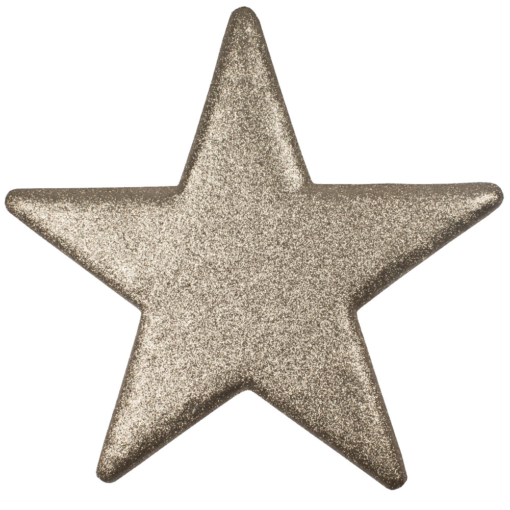 25cm Glitter Display Star Hanger - Champagne Gold