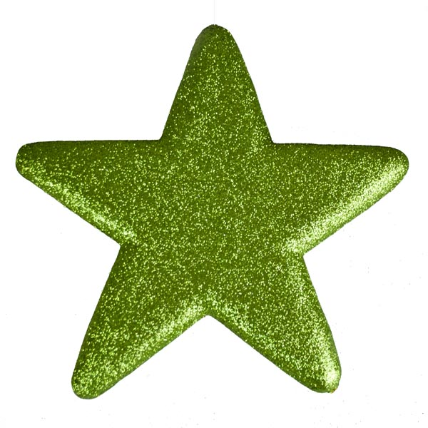 25cm Glitter Display Star Hanger - Green
