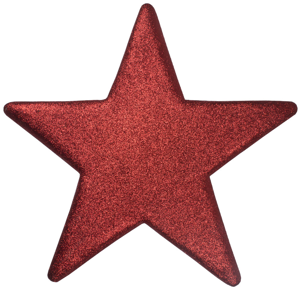 40cm Glitter Display Star Hanger - Red
