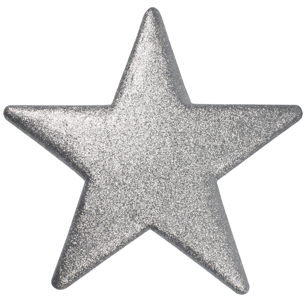 40cm Glitter Display Star Hanger - Silver