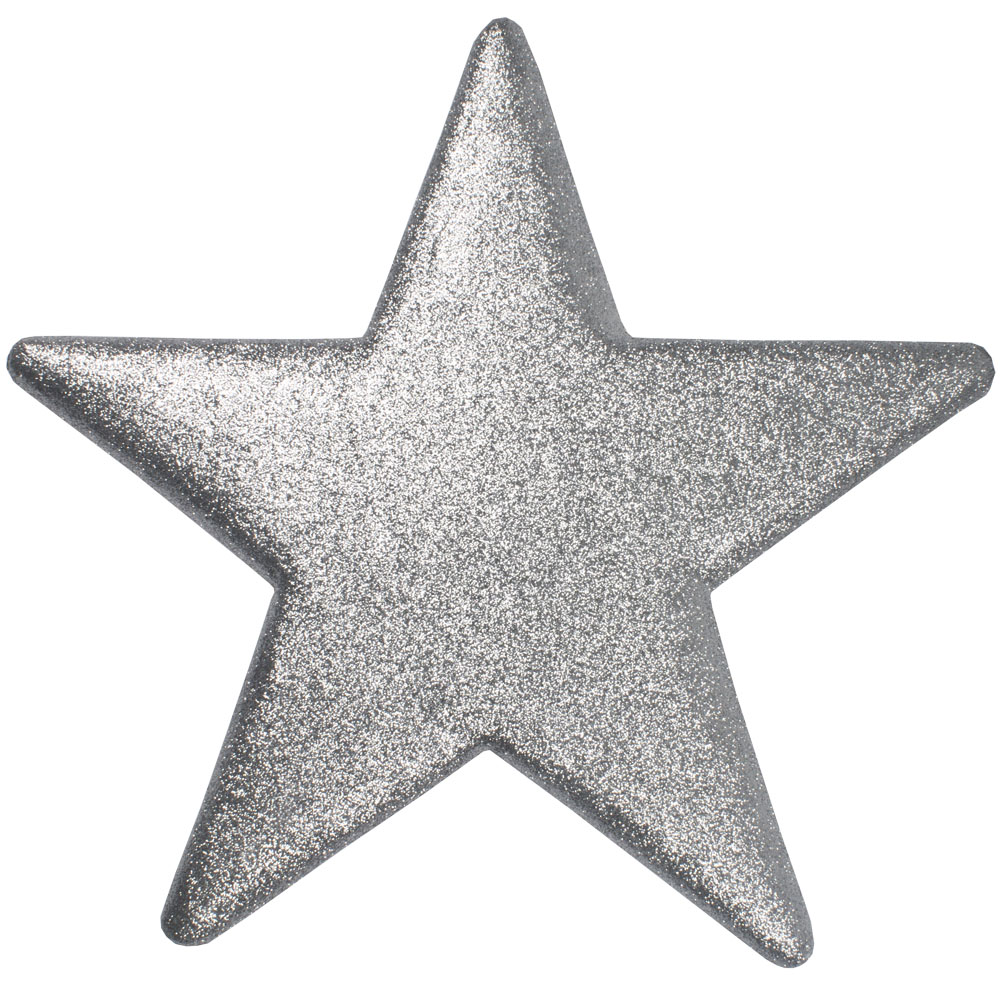 50cm Glitter Display Star Hanger - Silver