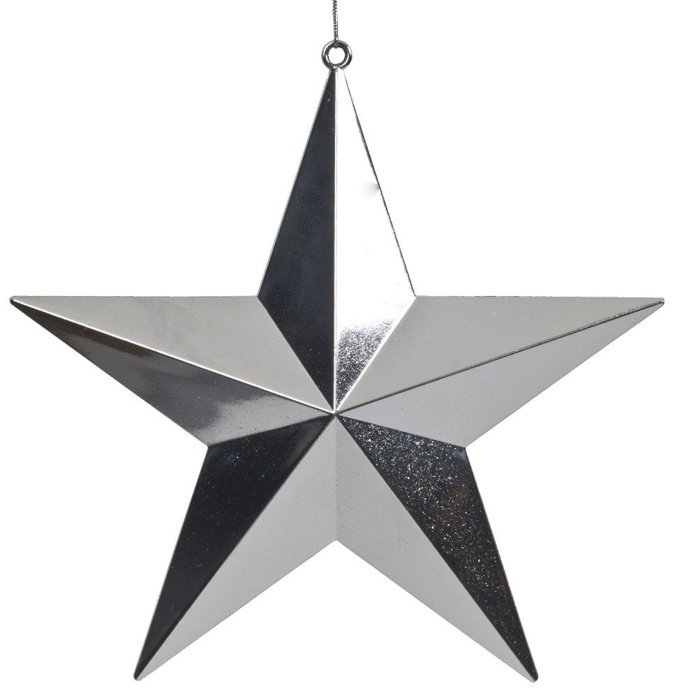 5 Point Shiny Silver Star - 20cm