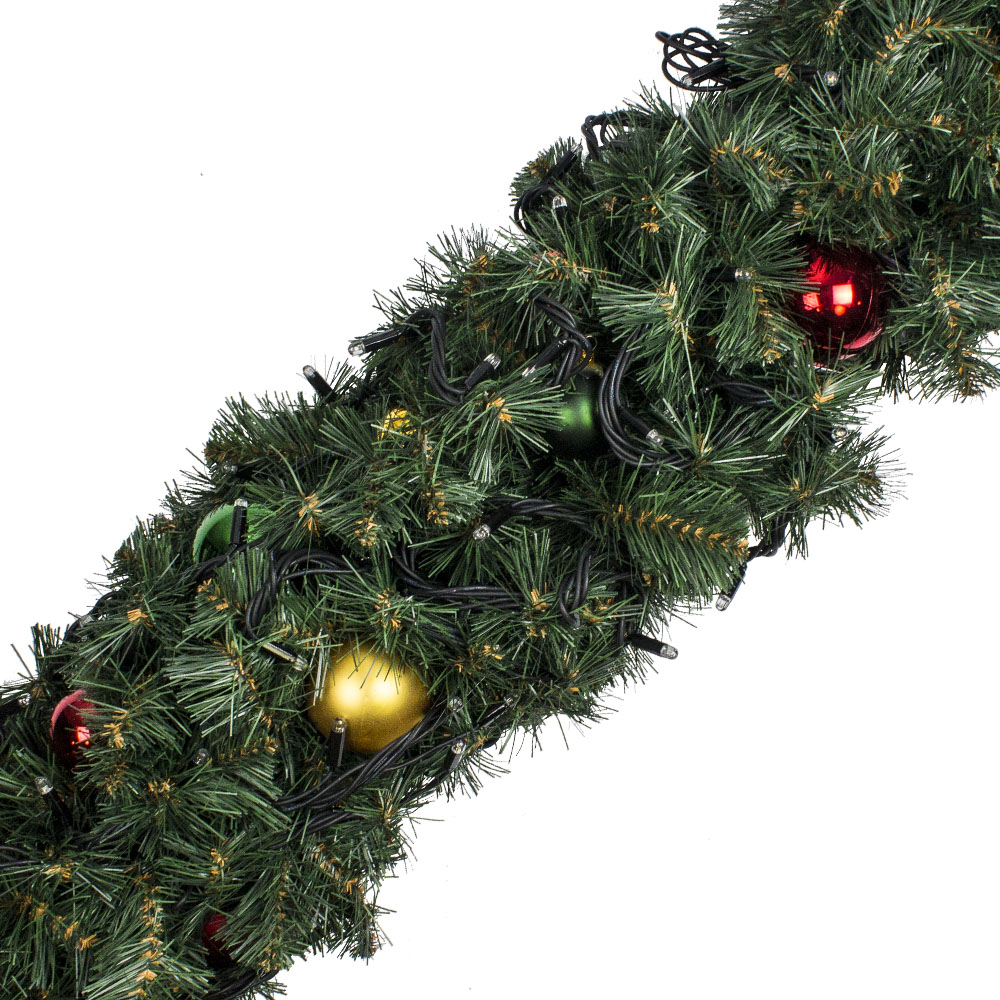 Natural Effect Green Pine Garland With Red, Gold & Green Baubles & Warm White lights with White Flash - 2.7m X 25cm