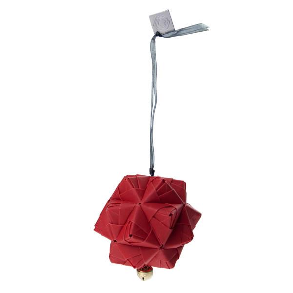 Squared Rose Sonobe Hanging Decoration - Translucent Design - Red