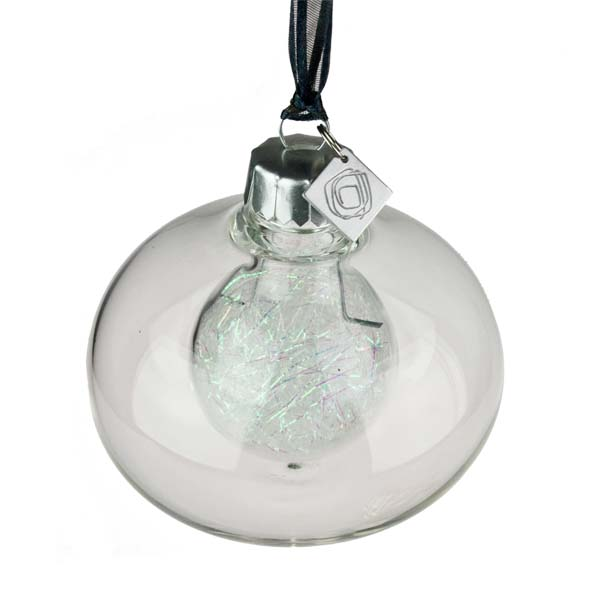 Squared Rose Plain Clear Glass Double Wall Onion Bauble - Iridescent Angel Hair - 70mm