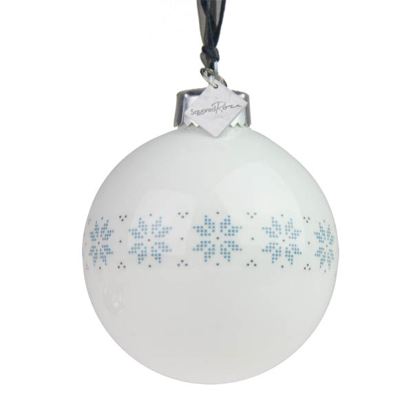 Squared Rose Fine China Bauble With Fair Isle Snowflake Decal - 68mm