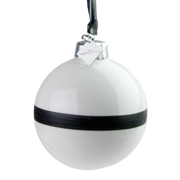 Squared Rose Fine China Bauble With Matte Black Band - 68mm