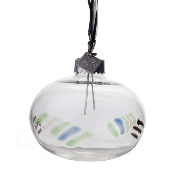 Squared Rose Hand Blown 70mm Glass Bauble - Black/Blue/Green Design No. 3