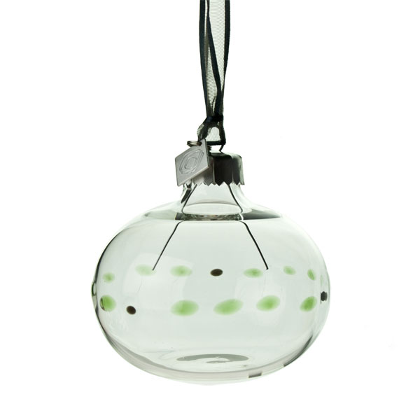 Squared Rose Hand Blown 70mm Glass Bauble - Black/Green Design No.14