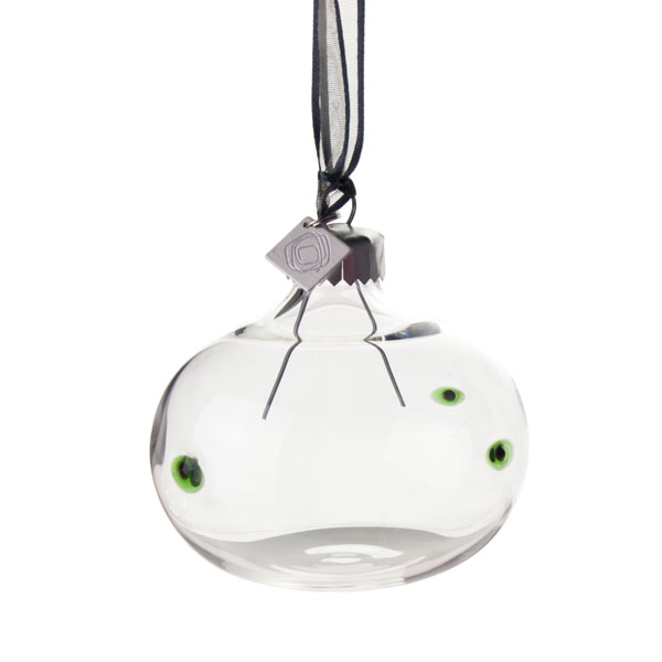 Squared Rose Hand Blown 70mm Glass Bauble - Black/Green Design No.18