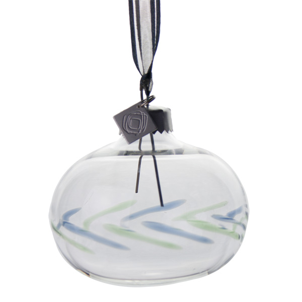 Squared Rose Hand Blown 70mm Glass Bauble - Blue/Green Design No.3