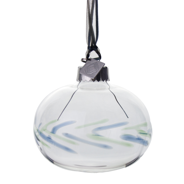 Squared Rose Hand Blown 70mm Glass Bauble - Blue/Green Design No.6