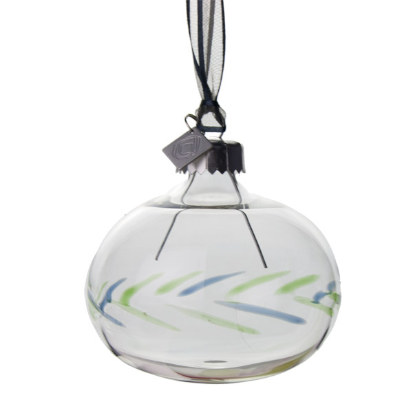 Squared Rose Hand Blown 70mm Glass Bauble - Blue/Green Design No.15