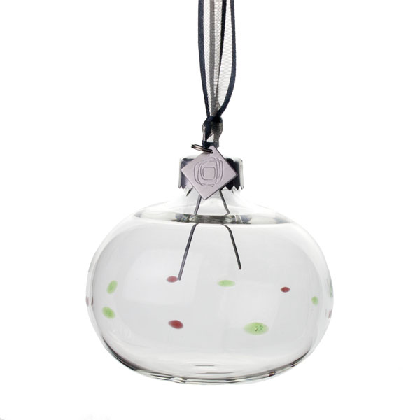 Squared Rose Hand Blown 70mm Glass Bauble - Red/Green Design No.9
