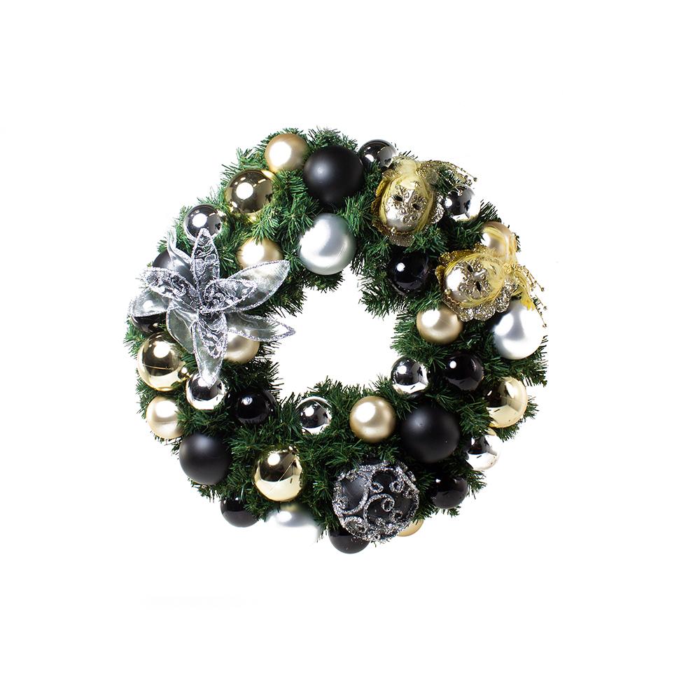Ebony Champagne Theme Range - 60cm Pre-Decorated Wreath