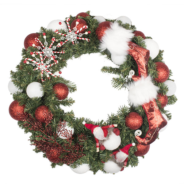 Santa Suit Theme Range - 60cm Pre-Decorated Wreath