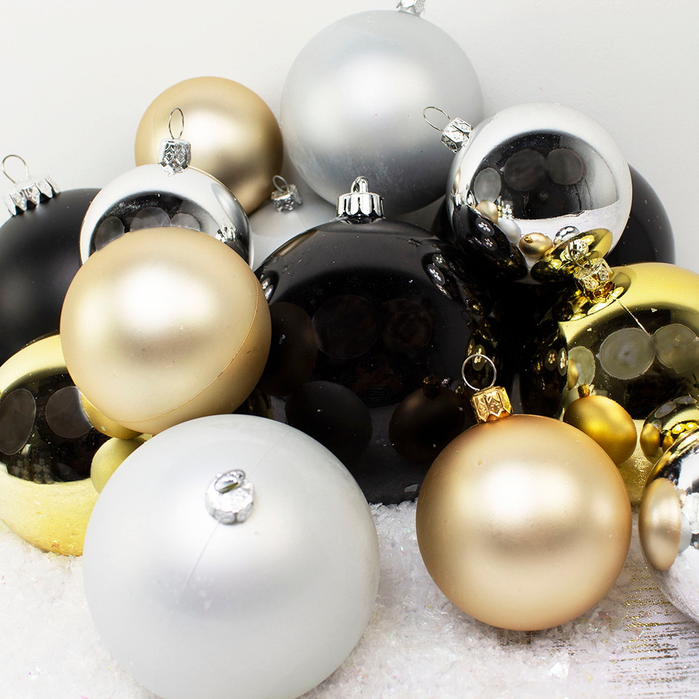 Bauble Pack - Gold Silver Black Baubles
