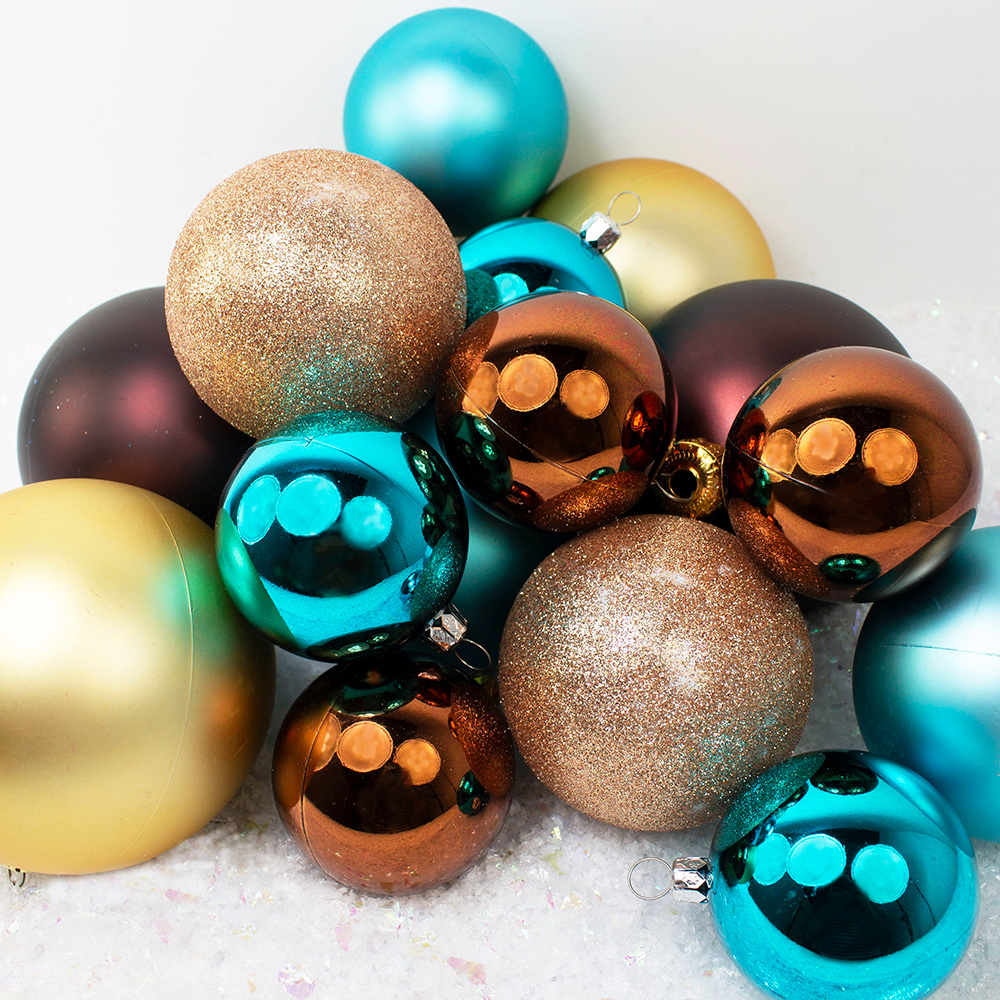 Bauble Pack - Gold Brown Turquoise Baubles
