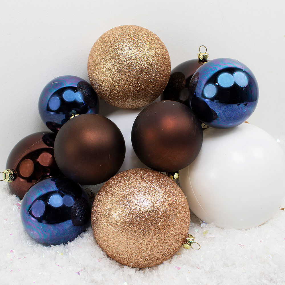 Bauble Pack - Blue White Brown Baubles