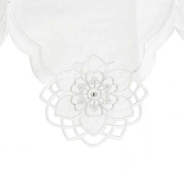 Peggy Wilkins White & Silver Cherish Design Mantle Runner (014-26490-WH-MR)