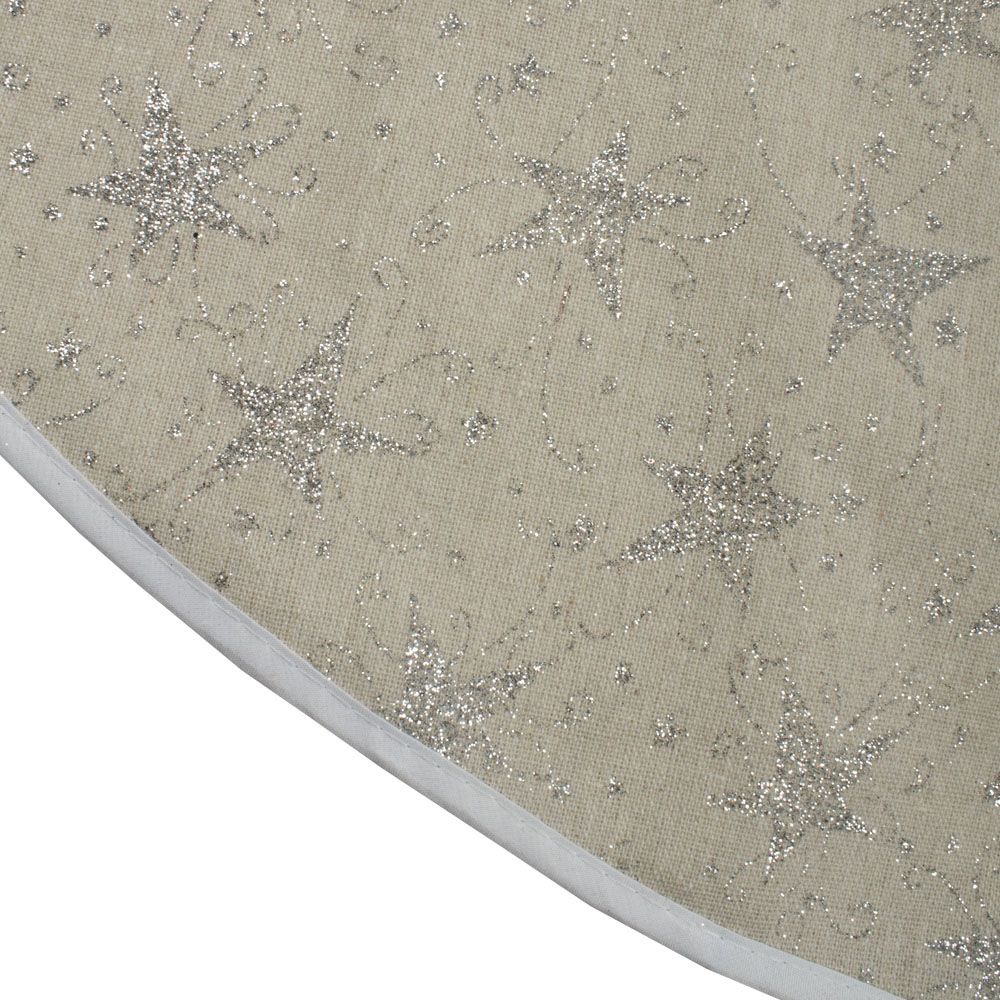 Fabric Tree Skirt With Silver Glitter Stars - 100cm